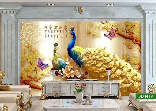 tranh dán tường chim công