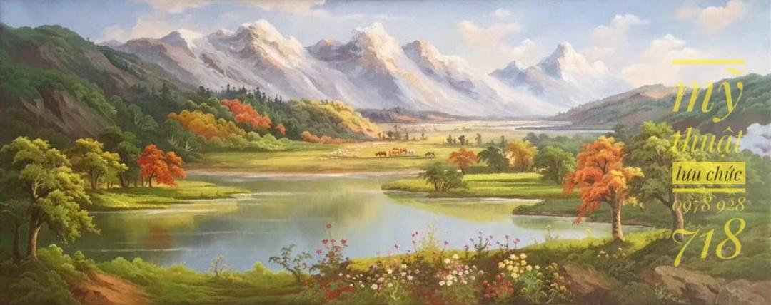tranh tường sông nước