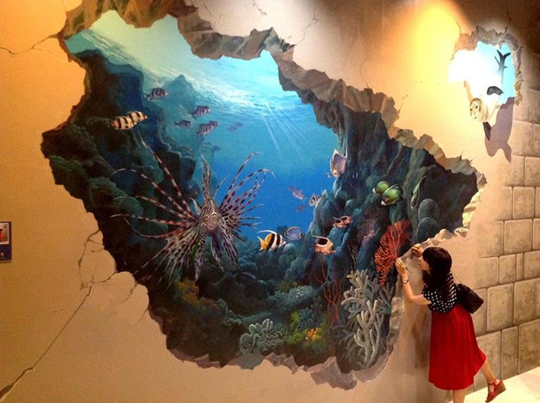 vẽ tranh tường 3d đại dương