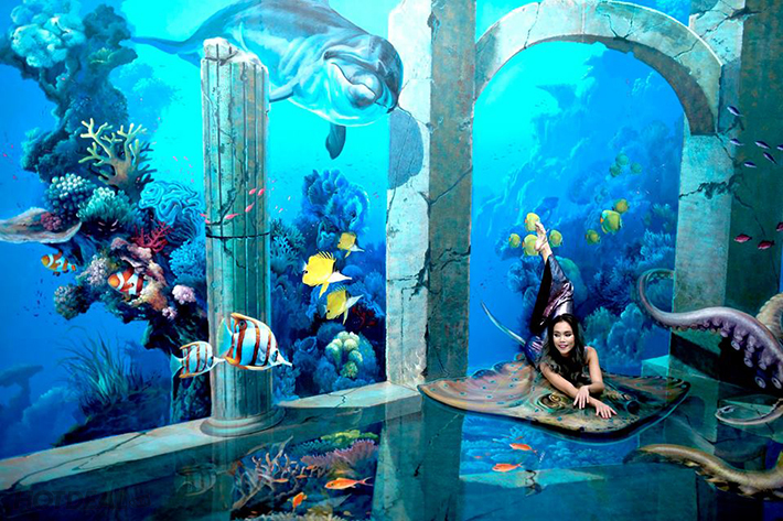 vẽ tranh tường cá 3D